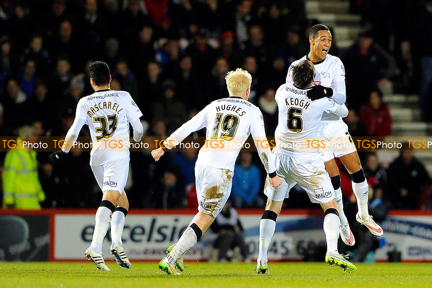 Thomas Ince of Derby County right celebrates after scoring the equaliser to make the score 1-1- AFC Bournemouth vs Derby County - Sky Bet Championship Football at the Goldsands Stadium, Bournemouth, Dorset - 10/02/15 - MANDATORY CREDIT: Denis Murphy/TGSPHOTO - Self billing applies where appropriate - contact@tgsphoto.co.uk - NO UNPAID USE