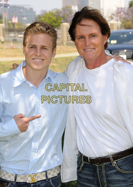 """SPENCER PRATT & BRUCE JENNER .""""A Time For Heroes"""" Celebrity Carnival Benefit for the Elizabeth Glaser Pediatric AIDS Foundation at the Wadsworth Fairgrounds, Los Angeles, California, USA..June 8th, 2008.half length blue white top shirt hand pointing .CAP/ADM/BP.©Byron Purvis/AdMedia/Capital Pictures."""