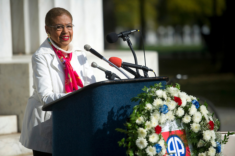 UNITED STATES - NOVEMBER 12: Del. Eleanor Holmes Norton, D-D.C. holds a news conference at the  D.C. War Memorial to honor Washington, D.C. vets and to announce how the Memorial was saved from being rededicated to all veterans of World War I. (Photo by Chris Maddaloni/CQ Roll Call)
