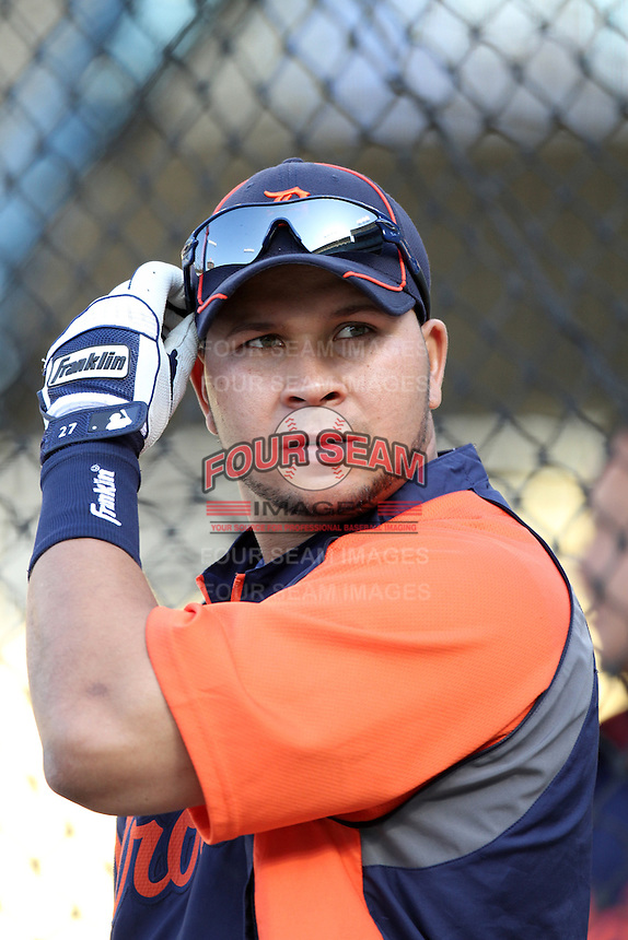 Detroit Tigers shortstop Jhonny Peralta #27 before a game against the Los Angeles Dodgers at Dodger Stadium on June 21, 2011 in Los Angeles,California. (Larry Goren/Four Seam Images)