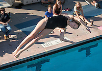 Occidental College's Jessica Robson dives against Whittier on Friday, Jan. 13, 2012 at the Rose Bowl Aquatic Center, Pasadena, Calif. (Photo by Marc Campos, Occidental College Photographer)