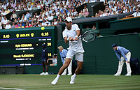 Novak Djokovic (SRB) during his match against Kyle Edmund (GBR) in their Men's Singles Third Round match<br /> <br /> Photographer Rob Newell/CameraSport<br /> <br /> Wimbledon Lawn Tennis Championships - Day 6 - Saturday 7th July 2018 -  All England Lawn Tennis and Croquet Club - Wimbledon - London - England<br /> <br /> World Copyright &not;&copy; 2017 CameraSport. All rights reserved. 43 Linden Ave. Countesthorpe. Leicester. England. LE8 5PG - Tel: +44 (0) 116 277 4147 - admin@camerasport.com - www.camerasport.com