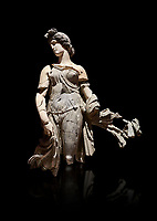 Roman statue of a Dancing Woman . Marble. Perge. 2nd century AD. Inv no 10.29.81 . Antalya Archaeology Museum; Turkey. Against a black background.