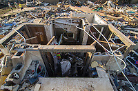 The Boys and Girls bathrooms are all that remain standing in the southwest portion of Briarwood Elementary School after the passage of an EF-5 tornado that struck Moore Oklahoma on May 20th, 2013.