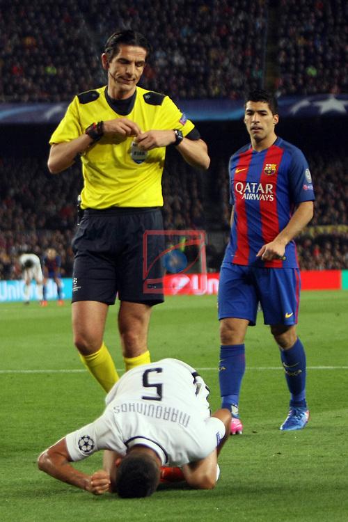 UEFA Champions League 2016/2017.<br /> Round of 16 2nd leg<br /> FC Barcelona vs Paris Saint-Germain: 6-1.<br /> Deniz Aytekin &amp; Marquinhos.