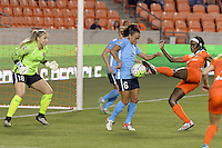 Houston, TX - Friday April 29, 2016: Chioma Ubogagu (9) of the Houston Dash and Taylor Lytle (6) of Sky Blue FC during a National Women's Soccer League (NWSL) match at BBVA Compass Stadium.