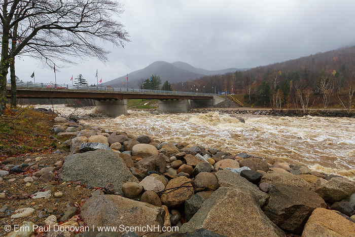 The East Branch of the Pemigewasset River at the entrance to Loon Mountain in Lincoln, New Hampshire on October 30, 2017 after hours of heavy rain and strong winds.