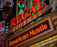 Best Picture Academy Award nominated American Hustle is showing at the Regal Cinemas in Times Square in New York on Thursday, January 16, 2014 on the day that the Academy of Motion Picture Arts and Sciences announced the nominations. The 86th annual awards will be presented in Hollywood on March 2, 2014.  (© Richard B. Levine)