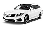 2015 Mercedes Benz Classe E E250 4Matic 5 Door Wagon 4WD Angular Front stock photos of front three quarter view