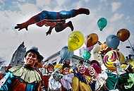 New York, U.S.A, 26th, November, 1987. Clowns and other characters like Spiderman and Garfield, seen at the famous Macy's Thanksgiving Parade.