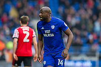 Sol Bamba of Cardiff City reacts to a decision of the referee's assistant during the Sky Bet Championship match between Cardiff City and Sunderland at the Cardiff City Stadium, Cardiff, Wales on 13 January 2018. Photo by Mark  Hawkins / PRiME Media Images.