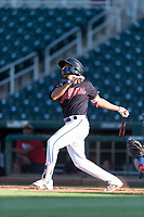 AZL Indians 1 shortstop Marcos Gonzalez (1) follows through on his swing during an Arizona League playoff game against the AZL Rangers at Goodyear Ballpark on August 28, 2018 in Goodyear, Arizona. The AZL Rangers defeated the AZL Indians 1 7-4. (Zachary Lucy/Four Seam Images)
