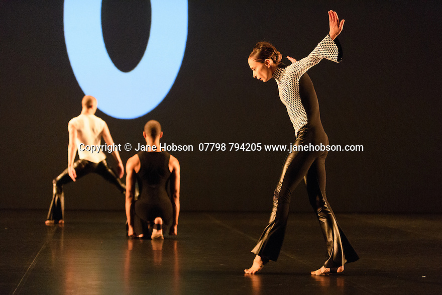 """London, UK. 07.10.2016. Michael Clark Company presents """"to a simple rock and roll ... song"""", to music by Patti Smith, at the Barbican Theatre. Dancers are: Harry Alexander, Desiree Ballantyne, Jordan James Bridge, Melissa Hetherington, Sharia Johnson, Kieran Page, Oxana Panchenko, Benjamin Warbis. Picture shows: Jordan James Bridge, Harry Alexander, Oxana Panchenko. Photograph © Jane Hobson."""