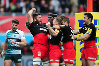 Will Fraser of Saracens celebrates his first half try with team-mates. Aviva Premiership semi final, between Saracens and Leicester Tigers on May 21, 2016 at Allianz Park in London, England. Photo by: Patrick Khachfe / JMP
