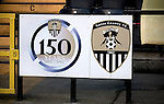 Notts County 150th Anniversary, 18/11/2012. Meadow Lane. An anniversary crest at Meadow Lane, home of Notts County FC pictured during a special Legends Day match marking the club's 150th anniversary. The day-long event featured autograph signing by past and present players, a game between two teams of former players and a screening of a film entitled 'Notts County - the Movie' on a giant inflatable screen. The club were founder members of the Football League in England and call themselves 'the world's oldest Football League club'. Photo by Colin McPherson.