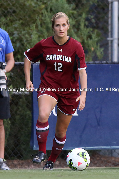 14 August 2014: South Carolina's Dominique Babbitt. The Duke University Blue Devils hosted the University of South Carolina Gamecocks at Koskinen Stadium in Durham, NC in a 2014 NCAA Division I Women's Soccer preseason match. Duke won the exhibition 2-0.