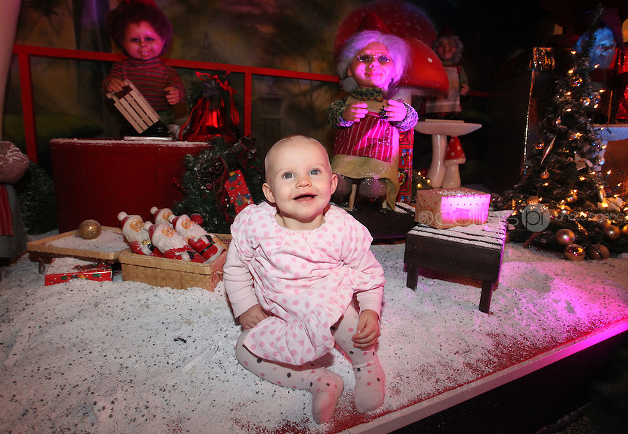 ****NO FEE PIC ******.19/11/2011.Sally Monaghan (11 months) from Castleknock.at the opening of Santa's Playland in The Ambassador Theatre,Dublin.One of this Christmas' biggest events is coming!  Santa's Playland takes up residence at The Ambassador Theatre in preparation for this year's festive season.  The spectacular event opens on Saturday 19 November and runs until Friday 23 December. Santa's Playland will see children transported to a magical Christmas paradise.On entering Santa's Playland children will be treated to a special Christmas play time.  The Play Area is full of Christmas treats with bouncy castles, slides and Christmas displays..Photo: Gareth Chaney Collins