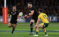 Kieran Read of the All Blacks makes a pass during the Rugby Championship match between Australia and New Zealand at Optus Stadium in Perth, Australia on August 10, 2019 . Photo: Gary Day / Frozen In Motion