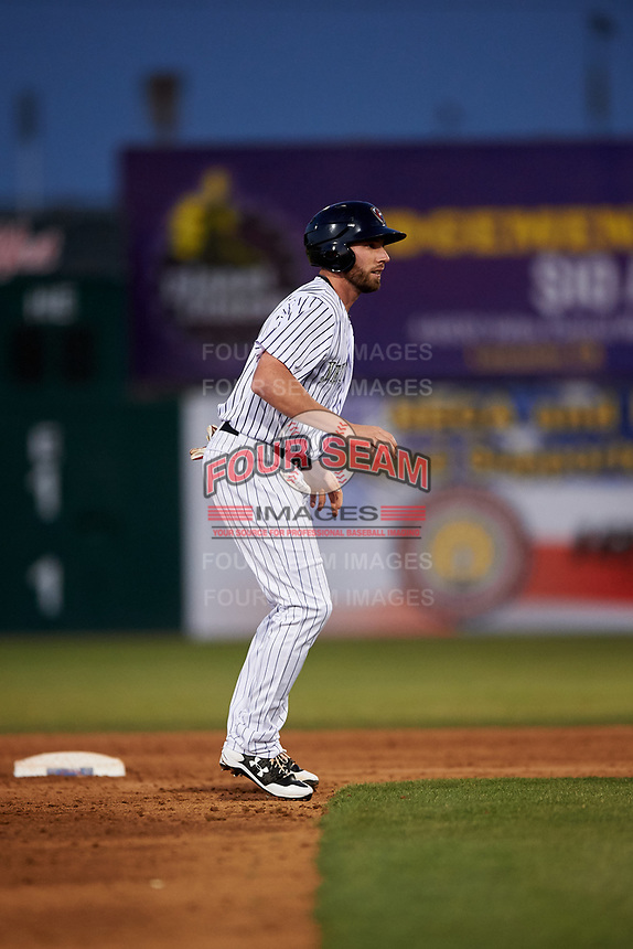 Lancaster JetHawks designated hitter Vince Fernandez (8) takes a lead off second base during a California League game against the Visalia Rawhide at The Hangar on May 17, 2018 in Lancaster, California. Lancaster defeated Visalia 11-9. (Zachary Lucy/Four Seam Images)