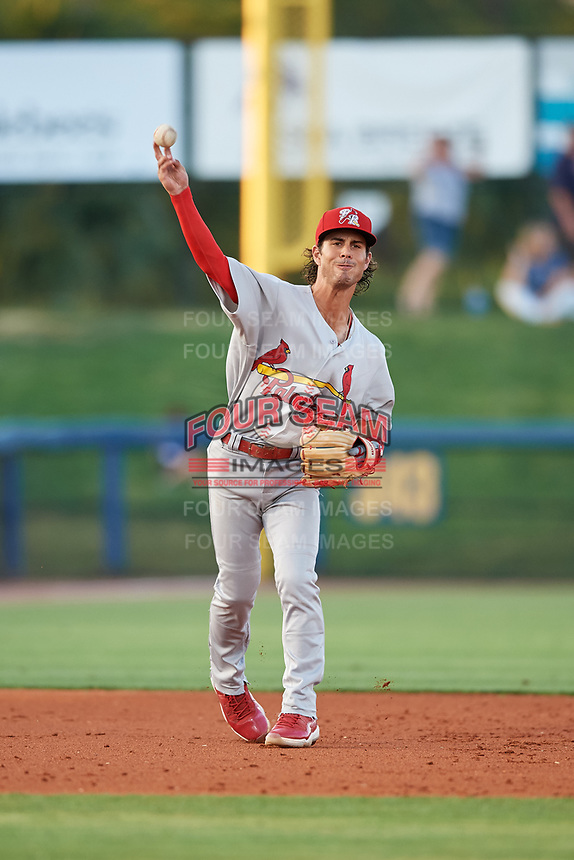 Palm Beach Cardinals shortstop Kramer Robertson (3) throws to first base during a game against the Charlotte Stone Crabs on April 20, 2018 at Charlotte Sports Park in Port Charlotte, Florida.  Charlotte defeated Palm Beach 4-3.  (Mike Janes/Four Seam Images)