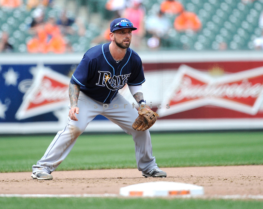 RYAN ROBERTS (19) of the Tampa Bay Rays in action during the Rays game against the the Baltimore Orioles on July 26, 2012 at Orioles Park at Camden Yards in Baltimore, MD. The Orioles beat the Rays 6-2.