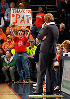 CHARLOTTESVILLE, VA- NOVEMBER 20: Tennessee Lady Volunteers fans a hold up a sign for head coach Pat Summitt of the Tennessee Lady Volunteers during the game on November 20, 2011 against the Virginia Cavaliers at the John Paul Jones Arena in Charlottesville, Virginia. Virginia defeated Tennessee in overtime 69-64. (Photo by Andrew Shurtleff/Getty Images) *** Local Caption *** Pat Summitt