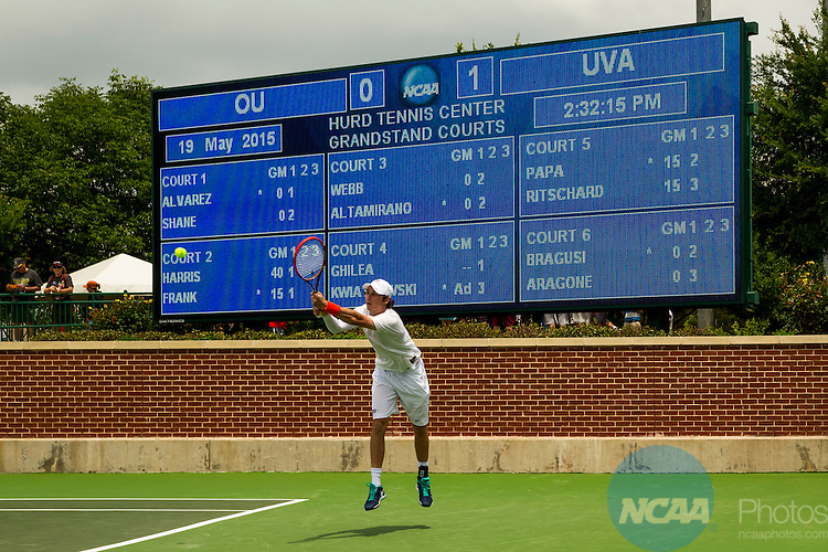 19 MAY 2015:  Virginia's Alexander Ritschard returns a serve from Oklahoma's Spencer Papa during their singles match at The Division I Men's Tennis Championship at the Hurd Tennis Center on the Baylor University campus in Waco, TX.  Virginia defeated Oklahoma 4-1 to win the team national title.  Darren Carroll/NCAA Photos