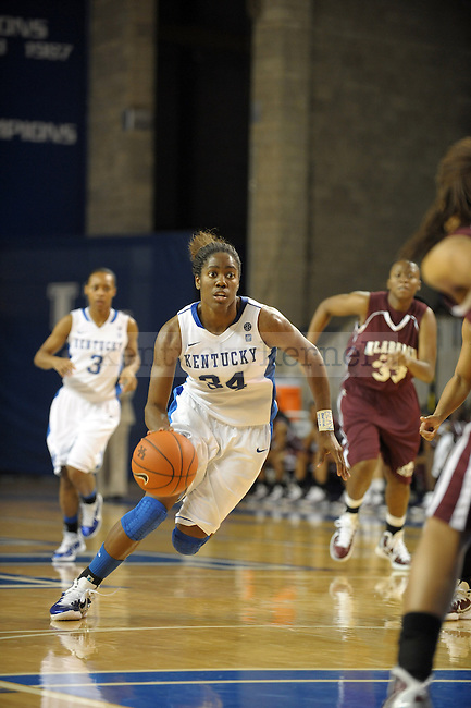 UK's Victoria Dunlap drives with the ball during the second half of the University of Kentucky Women's basketball game against Alabama A&M at Memorial Coliseum in Lexington, Ky., on 12/18/10. Uk won the game 84-58. Photo by Mike Weaver | Staff