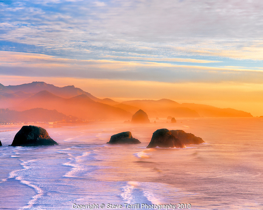 Cannon Beach at sunset viewed from Ecola State Park, Oregon
