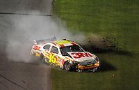 Jul. 5, 2008; Daytona Beach, FL, USA; NASCAR Sprint Cup Series driver Greg Biffle (16) crashes during the Coke Zero 400 at Daytona International Speedway. Mandatory Credit: Mark J. Rebilas-
