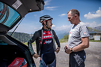 DS Kim Andersen &amp; Julien Bernard (FRA/Trek-Segafredo) during the restday 3 training ride with Team Trek-Segafredo in the Dolomites<br /> <br /> 100th Giro d'Italia 2017