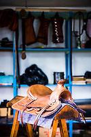 Saddle at the saddle makers shop, Zuleta community, Imbabura, Ecuador, South America
