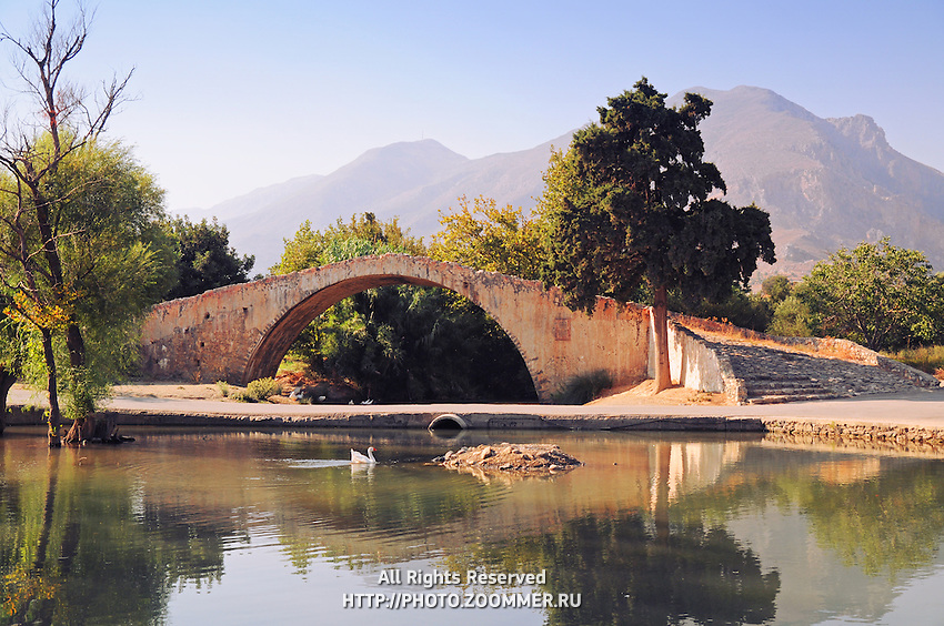 Old Venetian arced rridge at Preveli, Crete