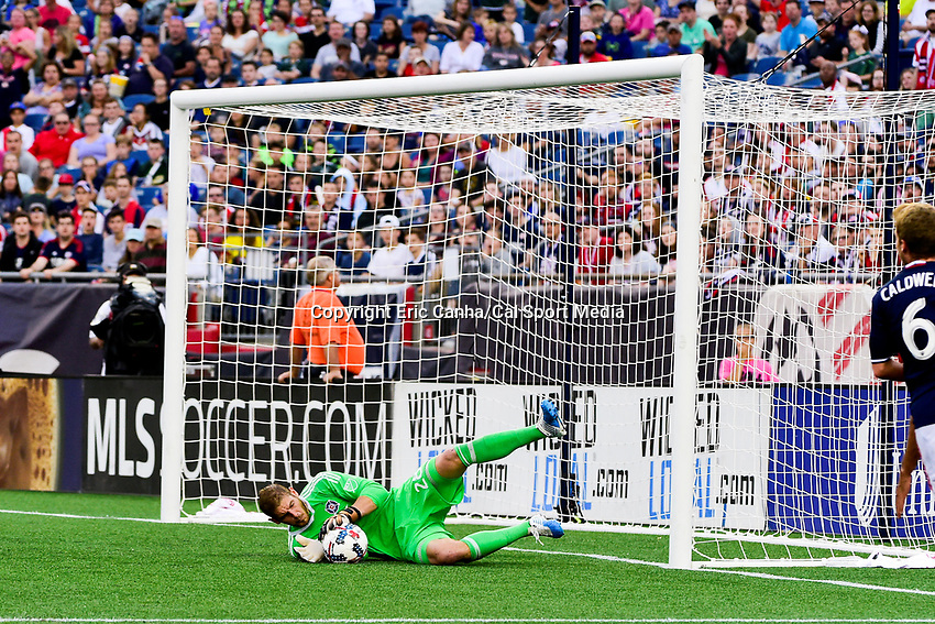 June 17, 2017: Chicago Fire goalkeeper Matt Lampson (28) makes a save during the MLS game between Chicago Fire and the New England Revolution held at Gillette Stadium in Foxborough Massachusetts. Eric Canha/CSM
