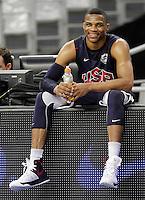 BARCELONA, ESPANHA, 23 JULHO 2012 - TREINO SELECAO AMERICANA DE BASQUETE - O jogador Russell Westbrook  durante sessao de treino da selecao norte americana de basquete em Barcelona na Espanha, nesta segunda-feira. A equipe se prepara para a estreia nas Olimpiadas 2012. (FOTO: ALFAQUI / BRAZIL PHOTO PRESS).