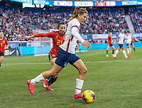 HARRISON, NJ - MARCH 08: Tobin Heath #17 of the United States dribbles during a game between Spain and USWNT at Red Bull Arena on March 08, 2020 in Harrison, New Jersey.