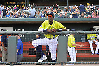 Shortstop Ronny Mauricio (2) of the Columbia Fireflies in a game against the Charleston RiverDogs on Saturday, April 6, 2019, at Segra Park in Columbia, South Carolina. Columbia won, 3-2. (Tom Priddy/Four Seam Images)