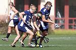 Santa Barbara, CA 02/13/10 - Melissa Nash (BYU # 33), Kristin Viehweg (BYU # 34) and Nicole Crayton (UC Davis # 3) in action during the BYU-UC Davis game at the 2010 Santa Barbara Shoutout, UC Davis defeated BYU 9-7.