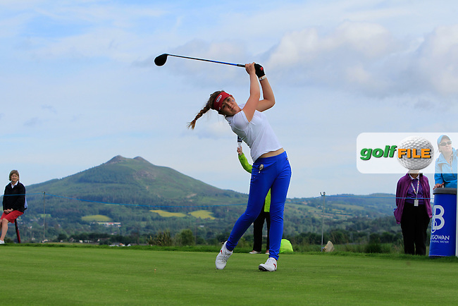 Hannah O'Sullivan on the 10th tee during the Saturday Afternoon Fourballs of the 2016 Curtis Cup at Dun Laoghaire Golf Club on Saturday 11th June 2016.<br /> Picture:  Golffile | Thos Caffrey