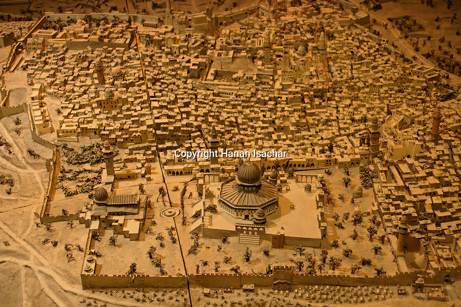 Israel, Jerusalem, The Tower of David museum at the Citadel. An 1873 model of Jerusalem is on display in an underground cistern<br />