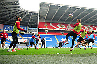 Gareth Bale (left)  and Aaron Ramsey (right) in action during the Wales Training Session at the Cardiff City Stadium in Cardiff, Wales, UK. Thursday 15 November 2018