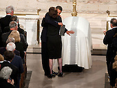 "Boston, MA - August 29, 2009 -- United States President Barack Obama hugs Vicki Kennedy as he touches the coffin of her husband, U.S. Senator Edward M. ""Ted""Kennedy (Democrat of Massachusetts) during his funeral at Our Lady of Perpetual Help Basilica in Boston, August 29, 2009. .Mandatory Credit: Chuck Kennedy - White House via CNP"