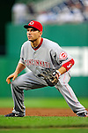 6 June 2010: Cincinnati Reds' first baseman Joey Votto in action against the Washington Nationals at Nationals Park in Washington, DC. The Reds edged out the Nationals 5-4 in a ten inning game. Mandatory Credit: Ed Wolfstein Photo