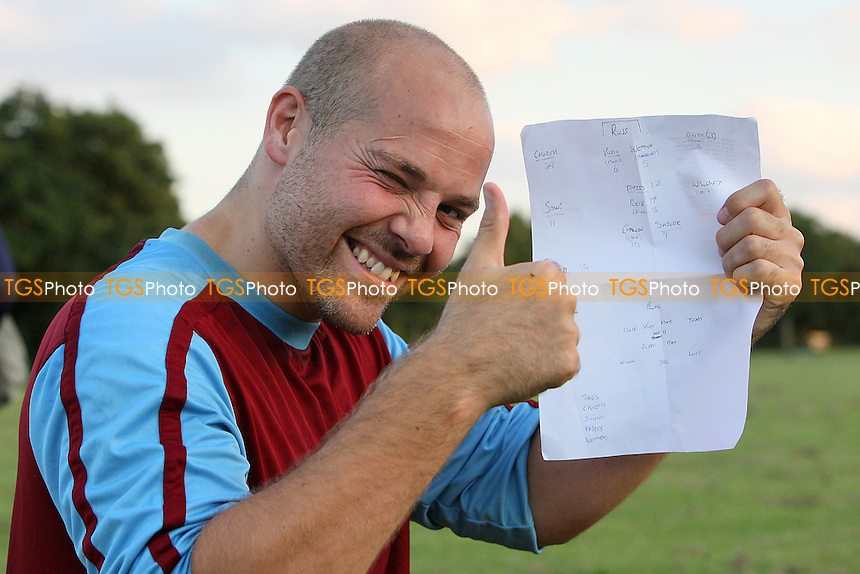 Kevin Ayres of Harold Wood looks pleased with the new line-up - Harold Wood Athletic vs Tilbury Reserves - Pre-Season Friendly Football at Harold Wood Park - 09/08/11 - MANDATORY CREDIT: Gavin Ellis/TGSPHOTO - Self billing applies where appropriate - 0845 094 6026 - contact@tgsphoto.co.uk - NO UNPAID USE.