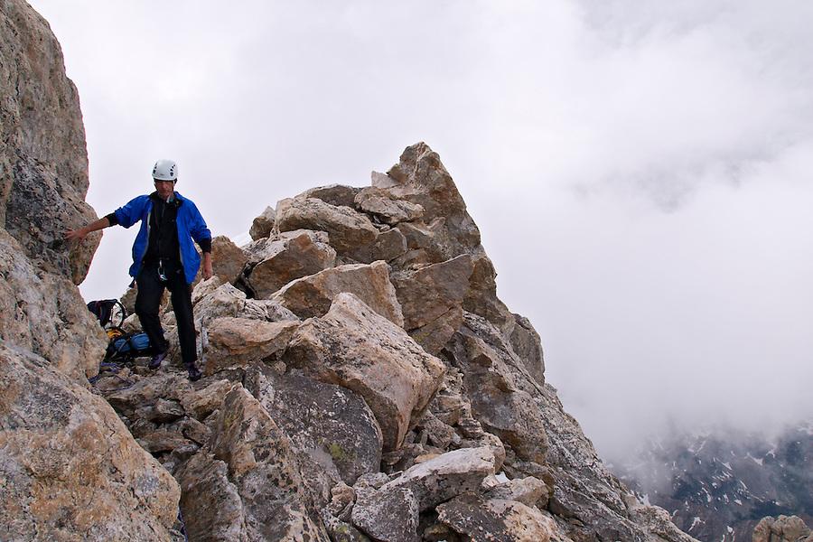 Climber near top of the Grand Teton, Grand Teton National Park, Teton County, Wyoming, USA