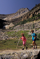 hiking, Banff National Park, Canada, Alberta, Canadian Rockies, Mother and daughter hike at Lake Agnes in Banff National Park in Alberta.