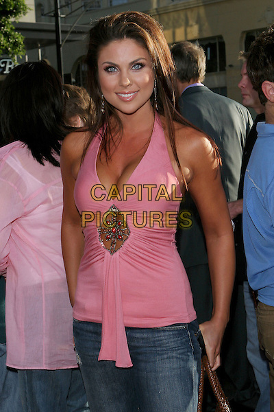 "NADIA BJORLIN.The Los Angeles premiere of ""The Dukes Of Hazzard"".Graumans Chinese Theatre,.Hollywood, 28th July 2005.half length pink halter neck top denim jeans cleavage.www.capitalpictures.com.sales@capitalpictures.com.© Capital Pictures."