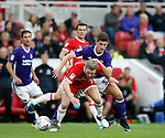 Grant Leadbitter of Middlesbrough challenged by Ched Evans of Sheffield Utd during the Championship match at the Riverside Stadium, Middlesbrough. Picture date: August 12th 2017. Picture credit should read: Simon Bellis/Sportimage