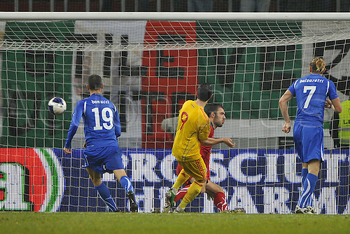 17.11.2010 International Friendly match Romania v Italy, 1-1. Klagenfurt, Austria, HYPO Group Arena. Picture shows Ciprian Marica scoring.