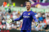 Joe Hart of Manchester City  reactsduring the Barclays Premier League match between Swansea City and Manchester City played at the Liberty Stadium, Swansea on the 15th of May  2016